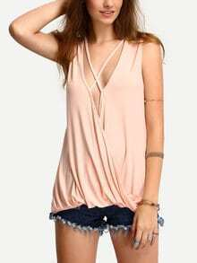 Pink Sleeveless Criss Cross Ruffle Tank Top