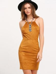 Brown Spaghettic Strap Lace Up Back Suede Dress