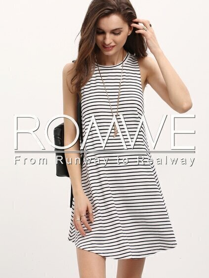 Royal Blue Round Neck Striped Asymmetric Casual Dress