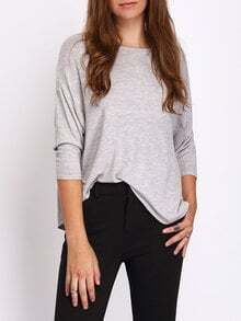 Grey Crew Neck Casual T-shirt