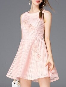 Pink Beading Embroidered Hollow Dress