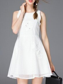 White Beading Embroidered Hollow Dress