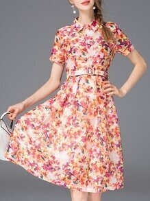 Red Lapel Floral Belted A-Line Dress