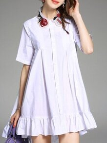 White Lapel Embroidered Frill Shift Dress