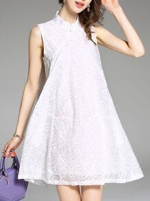 White Collar Embroidered Shift Dress