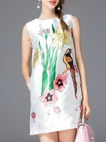 White Print Pockets Shift Dress