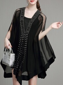 Black V Neck Beading Cape Dress