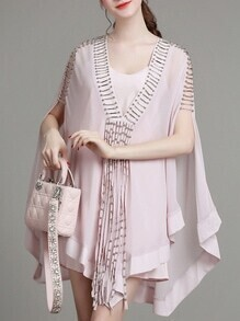 Pink V Neck Beading Cape Dress