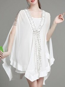 White V Neck Beading Cape Dress