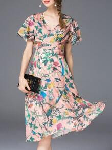 Pink V Neck Tie-Waist Print Dress