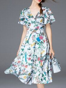 White V Neck Tie-Waist Print Dress