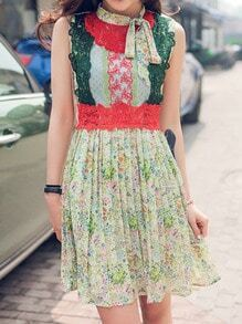 Multicolor Tie Neck Embroidered Floral Dress