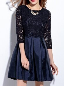 Navy Contrast Lace A-Line Combo Dress