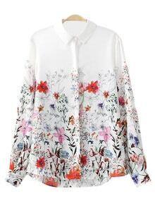 Multicolor Buttons Front Floral Print Blouse
