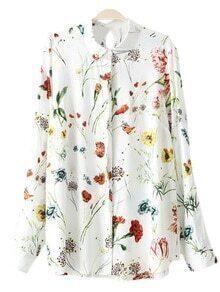 Multicolor Keyhole Back Floral Print Blouse