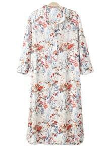 Multicolor Split Side Floral Print Shirt Midi Dress