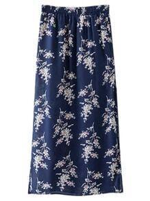 Navy Split Side Flowers Print Long Skirt