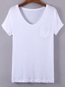 White V Neck Pocket Short Sleeve Casual T-shirt