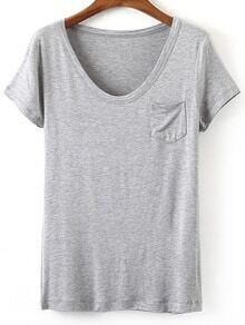 Grey V Neck Pocket Short Sleeve Casual T-shirt