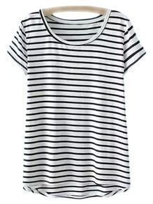 White Dipped Hem Short Sleeve Stripe T-shirt