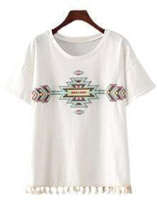 White Short Sleeve Tassel Embroidery T-shirt