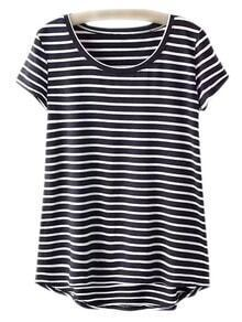Black Dip Hem Short Sleeve Stripe T-shirt