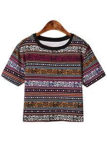 Multicolor Short Sleeve Tribal Print T-shirt