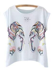 White Sleeveless Elephant Print T-shirt