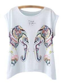 White Sleeveless Elephant Print T-shirt
