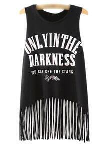 Black Sleeveless Letters Print Tassel T-shirt