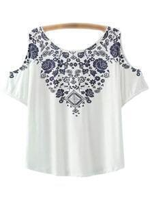 White Short Sleeve Cold Shoulder Print T-shirt