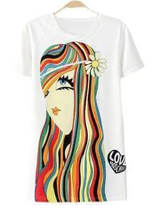 White Short Sleeve Girl Print Casual T-shirt