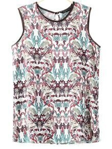 Multicolor Keyhole Back Print Tank Top