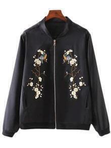 Black Pockets Zipper Front Embroidery Jacket