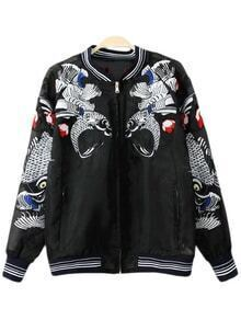 Black Pockets Fish Embroidery Organza Jacket