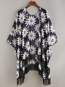 Chrysanthemum Print Fringe Chiffon Kimono