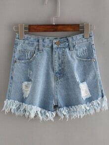 Blue Ripped Frayed Denim Shorts