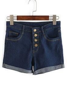 Blue Single Breasted Cuffed Denim Shorts