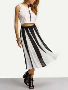 Vertical Striped Chiffon Skirt