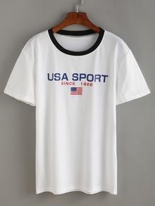 Kurzarm T-Shirt Rundhals mit amerikanischer Flagge Druck -weiß