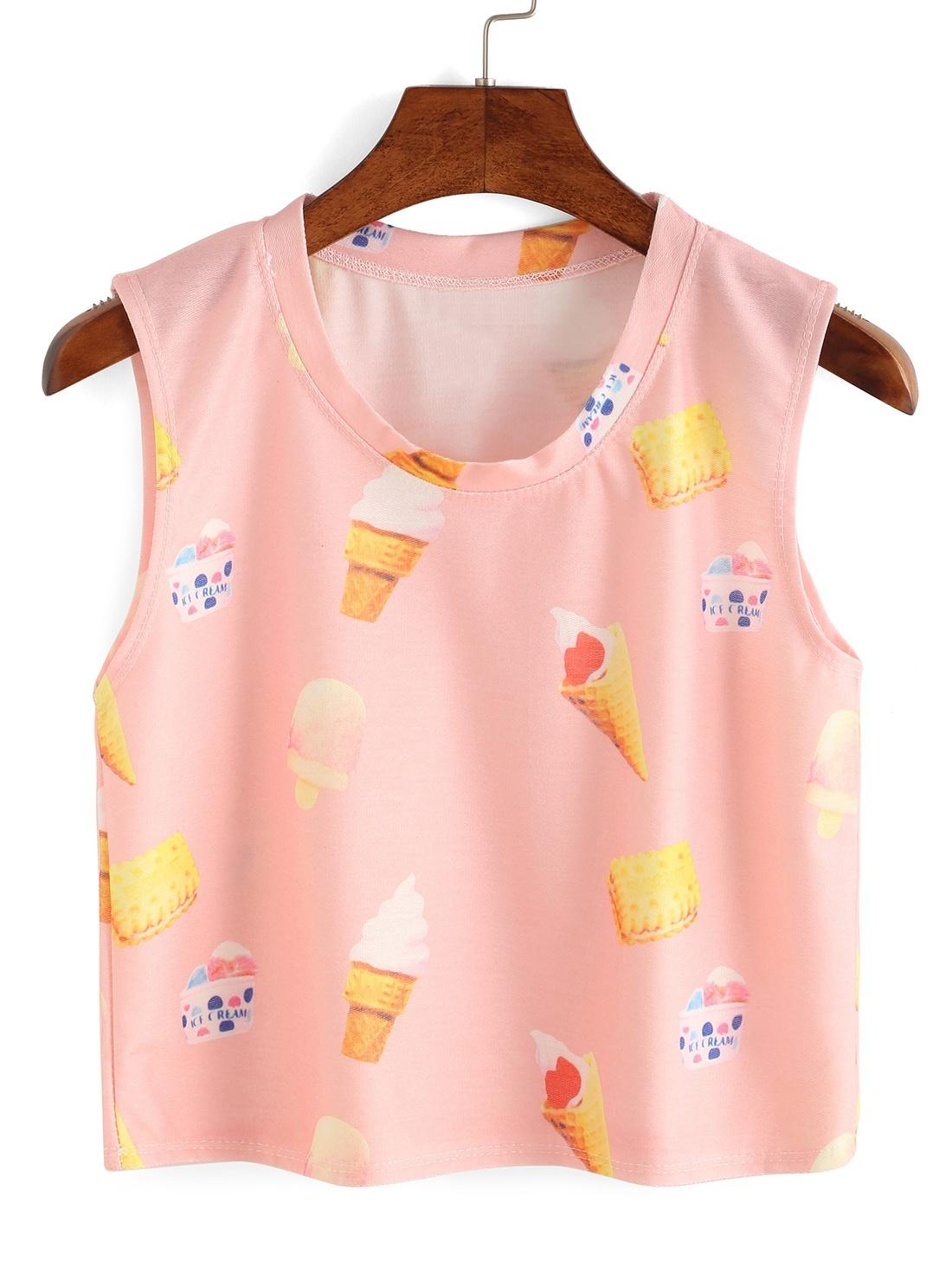 Pink Ice Cream Print Tank Top