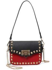Contrast Studded Double Carry Flap Bag