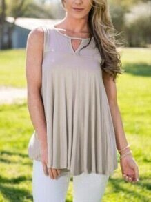 Grey Cut Out Pleated Tank Top