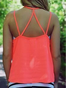 Orange Spaghetti Strap Chiffon Cami Top