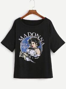 Black Madonna Print Cuffed T-shirt