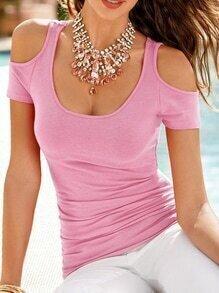 Pink Open Shoulder Slim T-shirt