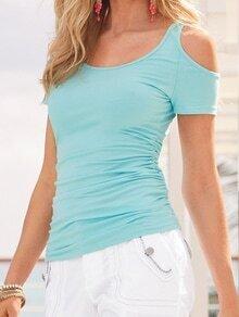 Blue Open Shoulder Slim T-shirt