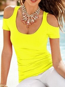 Yellow Open Shoulder Slim T-shirt