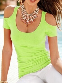 Green Open Shoulder Slim T-shirt