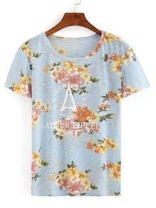 Blue Round Neck Florals T-shirt